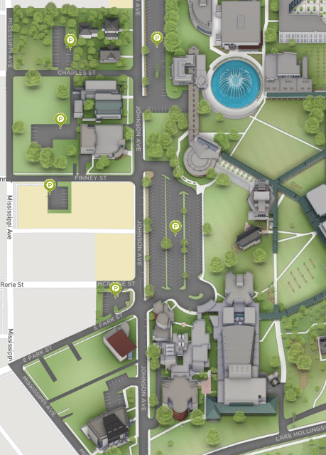 A picture of parking lot locations at Florida Southern College's Branscomb Auditorium