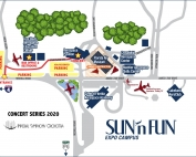 A map showing the location of the entrance and parking areas for the October 13, November 10 and December 8 concerts.